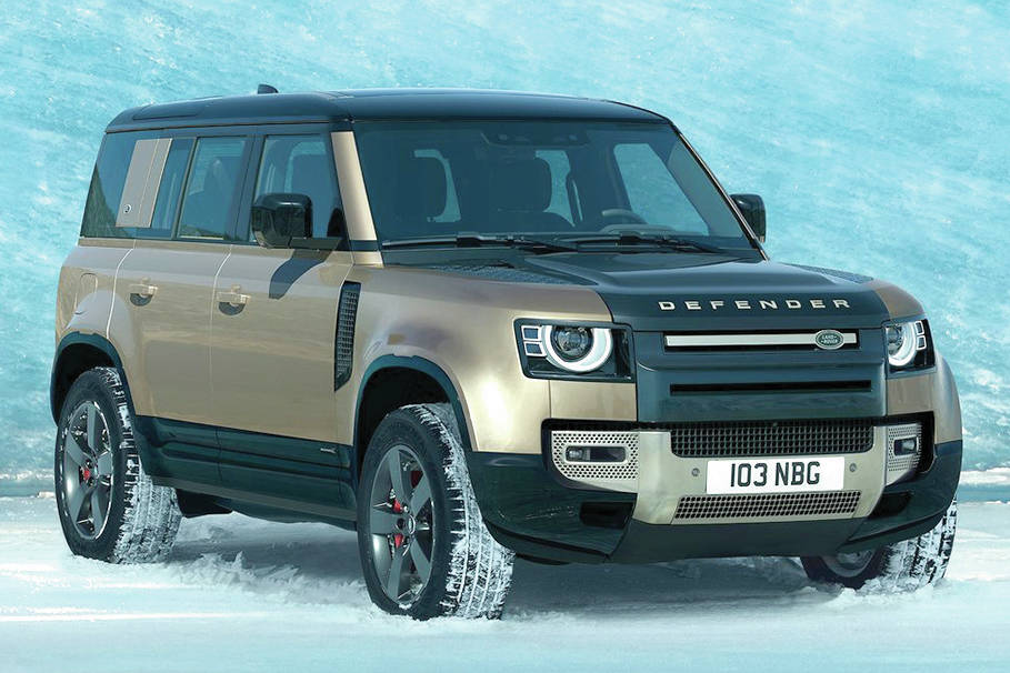The Defender 130 is a stretched version of the 110, pictured, to make room for a third-row seat. PHOTO: LAND ROVER